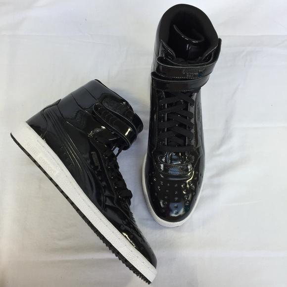 black patent leather pumas